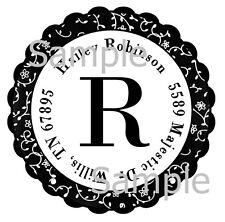 BLACK SWIRLS MONOGRAM #2 ~  ROUND LASER RETURN ADDRESS LABELS