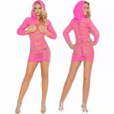 Pink Spandex Hooded Open Bust Mini Dress Lingerie Chemise Size Regular EM8005