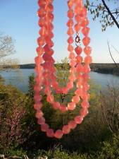(105 BEADS) Vtg German Glass PINK OPALESCENT FIRE GLOW BEADS NECKLACE jewelry