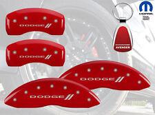 2008-2012 Dodge Avenger Logo Red Brake Caliper Covers Front Rear & Keychain