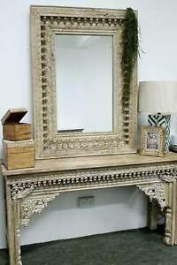 PRE ORDER Rustic Hand Carved Hall console and mirror combo whitewash 1.5m rustic