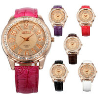 Fashion Women's Lady Crystal Leather Rose Gold Case Quartz Analog Wrist Watch