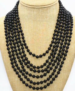 6 Rows Natural 6mm Black Agate Round Gemstone Beads Jewelry Necklace 17-22''