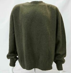 Orvis 100% Wool Long Sleeve Pullover Sweater Men's Green XL