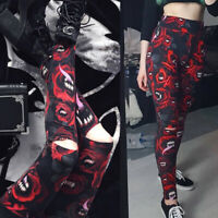 Womens Steampunk Gothic Hollow Pencil Pants Leggings Fitness Trousers Leggings