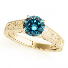 1 Ct Fancy Blue Diamond Huge Solitaire Engagement Ring Gorgeous 14k Yellow Gold