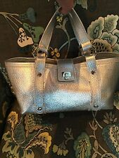 LAMBERTSON TRUEX Silver Metalic Leather Handbag Purse