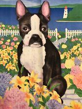 Boston Terrier Dog Frenchton Spring Garden Flag Outdoor Yard Decorative Floral