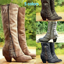 Womens Winter Retro PU Leather Lace Wild Knee High Riding Boots Mid-Heels Shoes