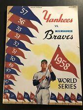 1958 World Series Program NEW YORK Yankees MILWAUKEE BRAVES Mickey Mantle AARON