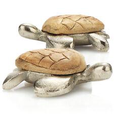 2x Deko-Schildkröte, Dekofigur aus Holz und Aluminium, maritimes Wohnaccessoire