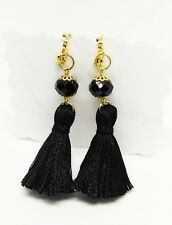 Handmade Boho Black Crystal Tassel Clip On Earrings,Black Clip On Earrings
