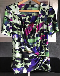 Georgede Paris Ladiesvibrant Short Sleeved Top With Stretch New UK 12
