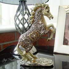 Gold Filigree Horses Rearing Frolicking Ornament Figurine Horse Gift Home Deco