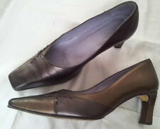 """VAN DAL - """"Jerry"""" BROWN and BRONZE square-toe LEATHER COURT SHOES - uk 5.5"""
