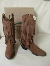 Women's 10 M Smoky Mountain Wisteria Brown Suede Leather Fringe Western Boots