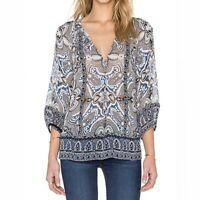 JOIE Womens GLORIA D Silk Georgette Printed Boho Blouse In CAVIAR Size Small