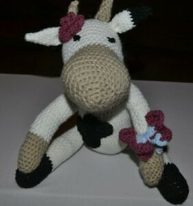 Hand crochet spring Cow soft toy