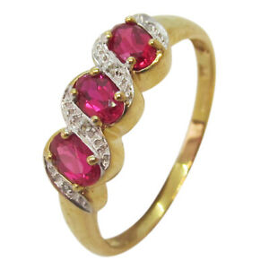9ct Yellow Gold 3 Stone Oval Cut Ruby and Diamond Fancy Dress Eternity Ring