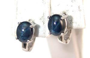 Sterling Silver Omega Back Earrings Genuine Star Sapphire