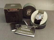 CITIZEN Eco-Drive Primo Men's WR100 Chronograph Watch BLK/BLU Leather CA0467-03E