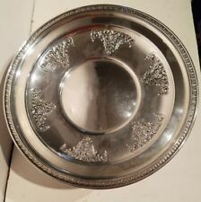 "Antique Sterling silver Floral Holloware Tray 9"". NR"