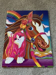 Fantastic World Lisa Frank Rainbow Chaser Horse Kitten Vintage Folder Portfolio
