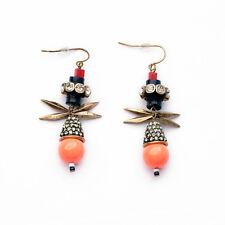 Women Vintage Jewelry Coral Ball Crystal Teardrop Rivet Statement Drop Earrings
