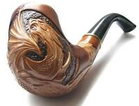 NEW HANDMADE WOODEN SMOKING PIPE HANDCRAFTED UNIQUE DRAGON ON BOWL