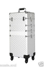 4 in 1 Portable Makeup Cosmetic Beauty Trolley Case Hairdresser- Silver Diamond
