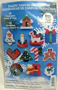 """Country Christmas Ornaments Plastic Canvas Kit Set of 12 2"""" Tall 7 Count DW1221"""