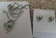Silver green Fashion Crystal Pendant Necklace Earrings 2 hearts Set nickel free