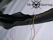FOR CITROEN SAXO PERFORATED LEATHER STEERING WHEEL COVER YELLOW DOUBLE STITCHING