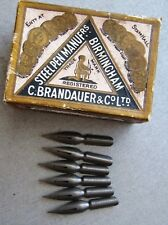 6 VINTAGE #1008-C BRANDAUER POINTED DIP PEN NIBS-SHAPED-CALLIGRAPHY+DRAW-JOURNAL