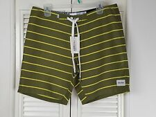 Rhythm Loom Board Shorts Trunks Swimming Dark Olive Sz 33 Stripes