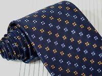 ROFFE Seven Fold Silk Tie Navy Blue with Dots. 59 x 3 5/8.