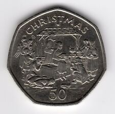 More details for 1991 50p coin iom christmas nativity scene aa xmas fifty pence iom209