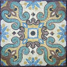 "30""x 30"" Handmade Geometric Mosaic Art Tile Marble Floor Wall or Table top Decor"