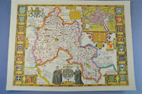 Vintage decorative sheet map of Oxfordshire Oxford John Speede 1610