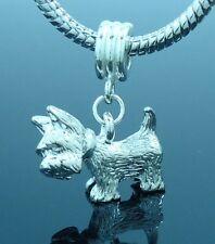 3D Terrier Scottie Dog Silver Pewter Charm fits European Bracelets Or Necklace