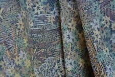 "Vintage Japanese Kimono Silk Fabric 62""|Dark Green Yellow Brown Bush |Long Panel"