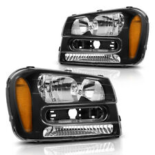 For Chevy Trailblazer 2002-2009 Black Housing Headlights Headlamps Amber Lamps