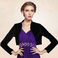 Women Long Sleeve Velvet Open Front Cardigan Cropped Bolero Shrug incl plus size
