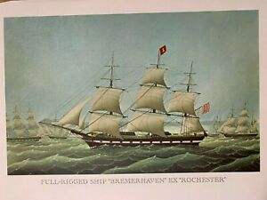 """Vintage Lithograph Print Full-Rigged Ship """"Bremerhaven"""" ex """"Rochester"""" Nautical"""