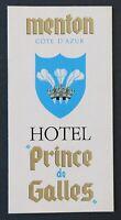 Brochure touristique MENTON Hotel Prince de Galles Côte d'Azur