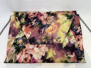 COAST Large Envelope Clutch w/ Chain Strap Pink Purple Green Yellow Floral M765