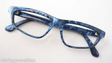 Exclusive Glasses Frames Cat's Eye Women Plastic Frame BLACK-BLUE size M