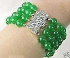 "Natural 8mm emerald gemstone bracelet 7.5 ""AAA"