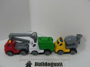Lot of 3 Kids Plastic Construction Plastic Trucks Toy Bucket Cement Garbage