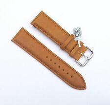 24mm Genuine Leather Padded Tan Light Brown Watch Band with 2 Spring Bars